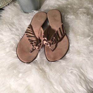 Italian Shoemakers Zebra print thongs 8